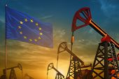European Union Oil Industry Concept, Industrial Illustration. Fluttering European Union Flag And Oil poster