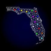 Glossy Polygonal Mesh Map Of Florida State With Glare Effect. Vector Carcass Map Of Florida State Wi poster