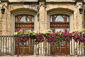 stock photo of flower pot  - Two doors Gothic style balcony with flower pots in Sigmaringen castle Germany - JPG