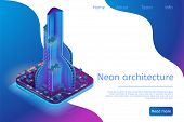 Neon Architecture Building Modern Smart Metropolis. Isometric Banner Illustration Futuristic City Bu poster