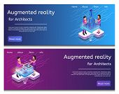 Isometric Illustration Virtual Building Design. Banner Set Image Augmented Reality For Architects. G poster