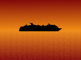 image of cruise ship  - Cruise ship at sunset with beautiful sea and sky - JPG