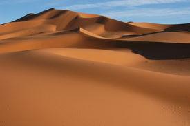 image of sahara desert  - the sand dunes of erg chebbi in the sahara desert near the village of merzouga in morocco - JPG