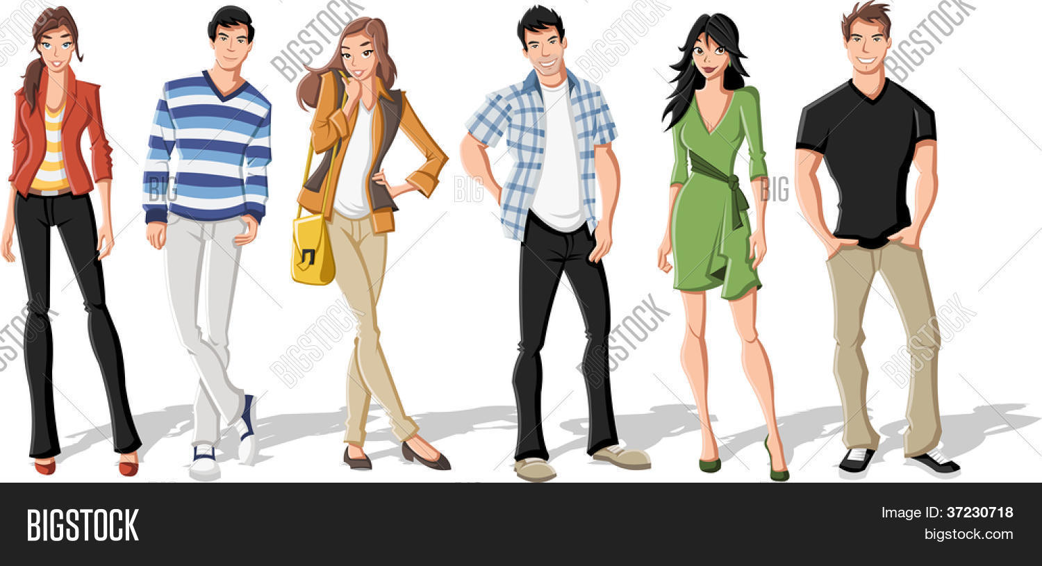 Group Fashion Cartoon Young People Vector Photo Bigstock