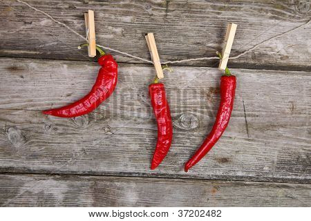 Red Chili Peppers Hanging On A Rope