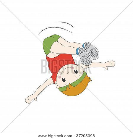 Boy jumping in air