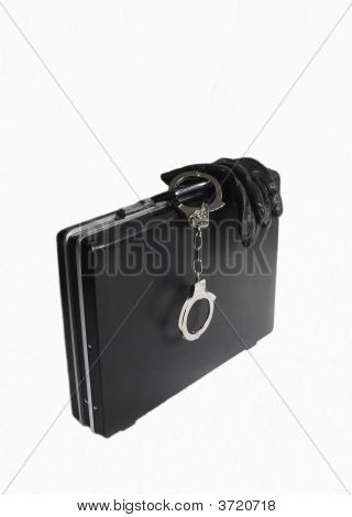 Attache Case With Attached Handcuffs