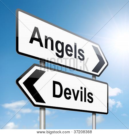 Angel Or Devil Concept.