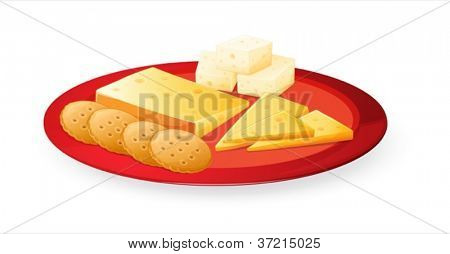 illustration of cheese biscuits in plate on a white background
