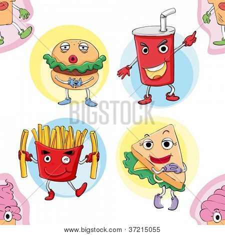 illustration of various food on a white background