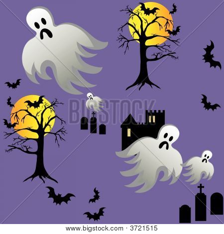 Halloween Ghost Bats Castle Graves At Night Seamless Tile