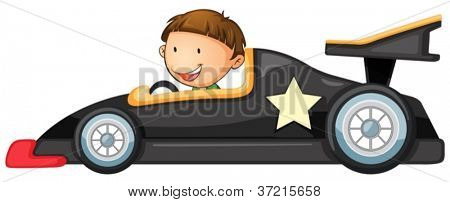 illustration of a boy driving a car on white