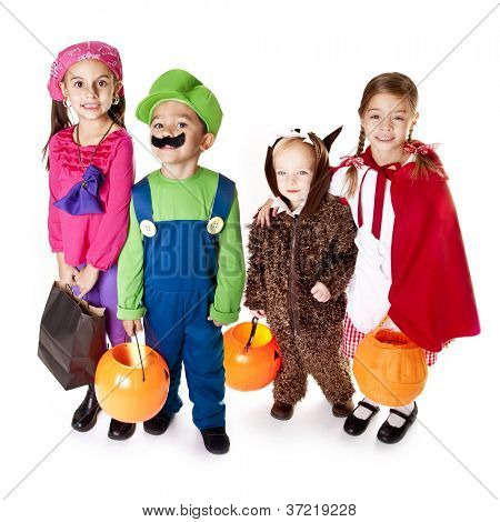 Halloween Trick-or-Treaters in their costumes