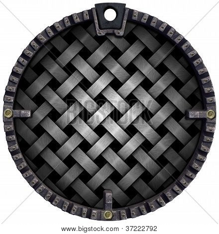 Circular Grunge And Braided Metal Background