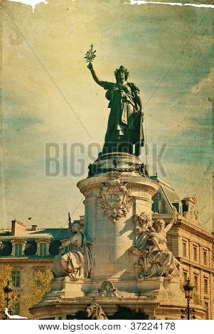 The Famous Statue of the Republic in Paris. built in 1880 in the center of the place of the Republic. It symbolizes the victory of the Republic in France