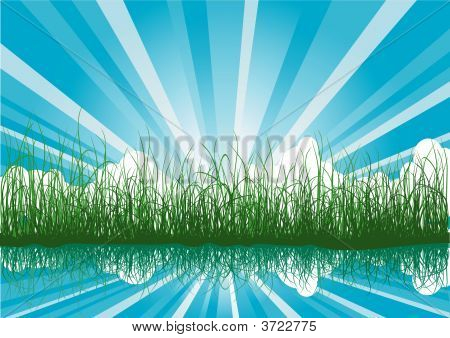 Summer Background With Grass And Sunbeams
