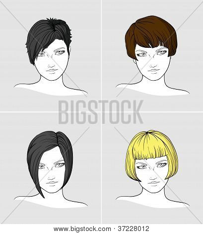 Portraits of women with different haircuts