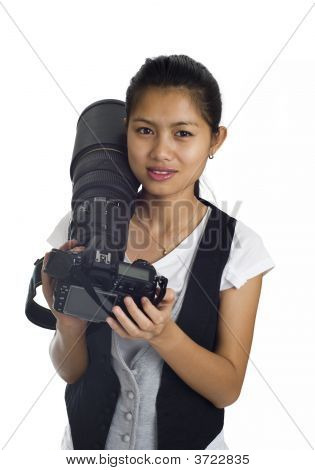 Asian Woman With Cam And Tele