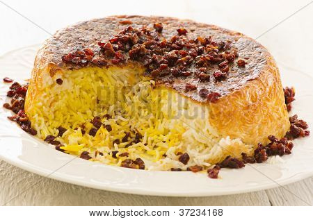 Persian saffron rice with berberis Sereshk Polo
