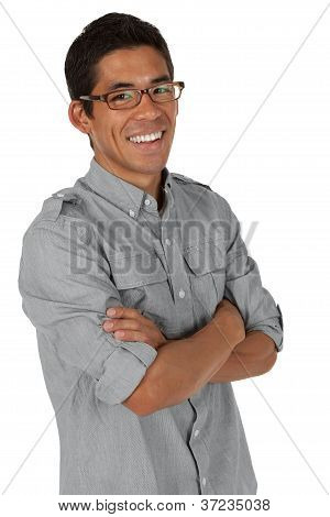 Man with arms crossed smiling