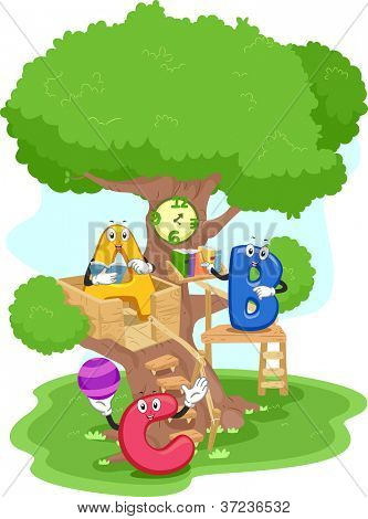 Illustration of Alphabet Mascots Hanging Out in a Treehouse
