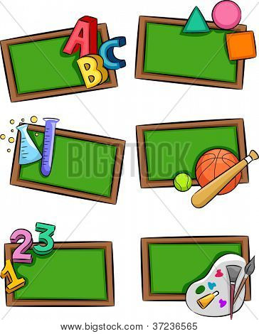 Illustration of Blackboards with Letters of the Alphabet, Geometric Shapes, Laboratory Tools, Sporting Materials, and Painting Materials Placed Beside Them