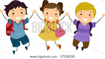 Illustration of Kids Jumping Together With Hands Clasped