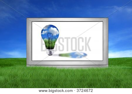 Huge Lcd Or Plasma Tv With Green Energy Concept