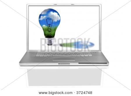 Laptop Computer With Green Energy Concept