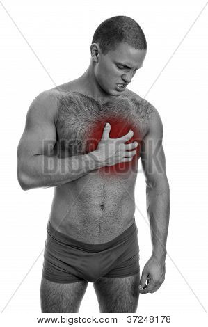 Front View Of Muscular Man With Chest Pain. Isolated On White. Black And White