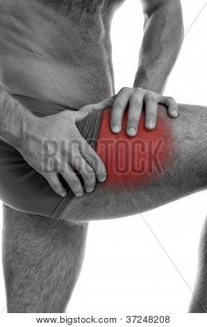 Close Up View Of Male Hands Holding His Leg With Muscular Pain. Isolated On White. Black And White