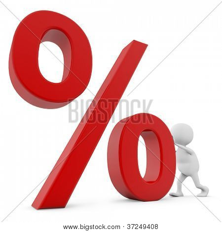 Hombre blanco 3D empujando el signo de porcentaje aislado sobre fondo blanco.