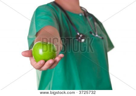 Doctor With An Apple On His Hand