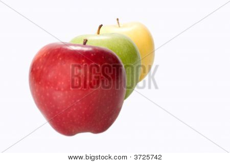 Three Apples On White Background