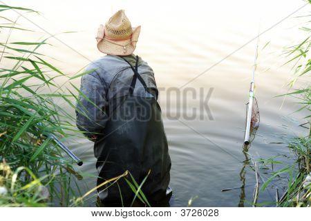 Fisherman Standing Between Rods, Rear View