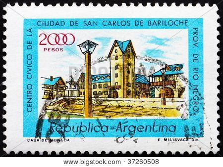 Postage stamp Argentina 1980 Civic Center, Bariloche, Rio Negro