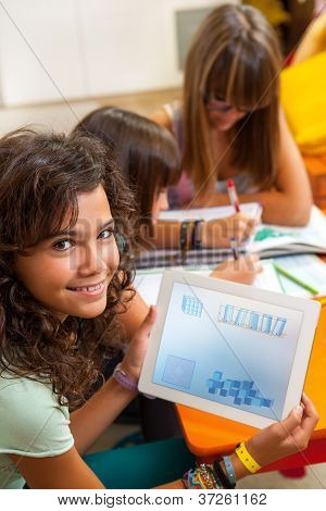 Young Girl Holding Tablet With Schoolwork.