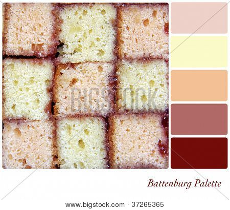 Battenburg cake background colour palette with complimentary swatches.