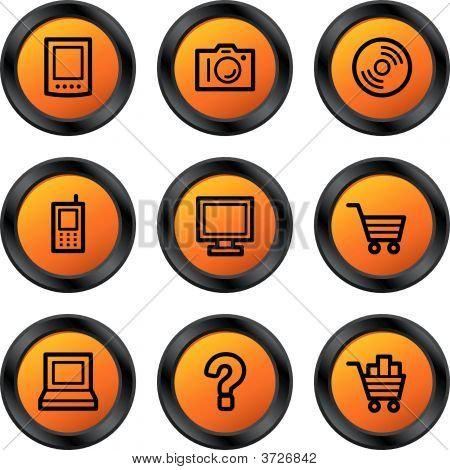Electronics Icons Orange Circle Series