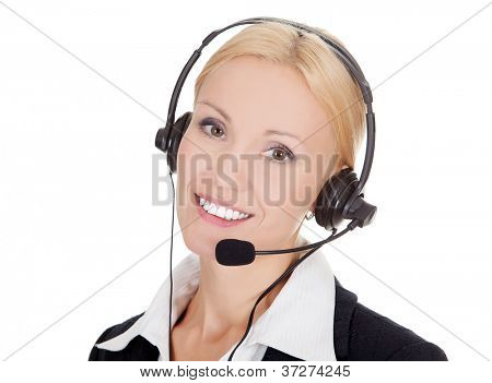 Cheerful call center operator against white background