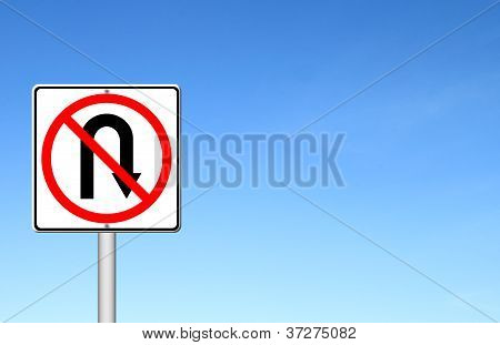 No Return Back Road Sign Over Blue Sky
