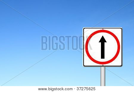 Go Ahead The Way ,forward Sign With Blue Sky