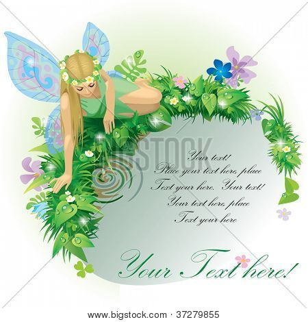Vector greeting card with a fairy girl with blue wings seated near the water bordered by plants and flowers