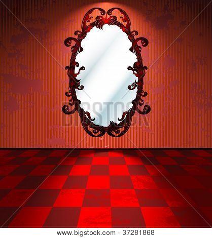 Das rote Zimmer mit Spiegel