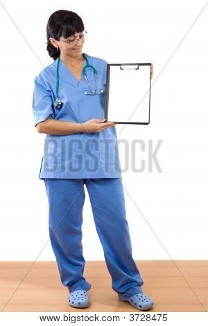 Woman Doctor With Blank Paper