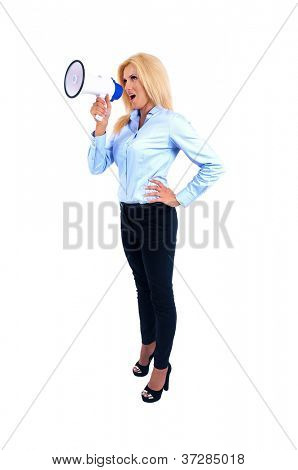 Isolated young business woman screaming megaphone