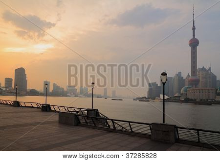 Shanghai Pudong Cityscape At Evening Viewed From The Bund