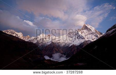 Mount Machapuchare sunset