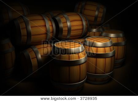 Wooden Barrels For Wine And Beer Storage