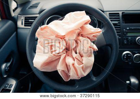 Airbag explodes on steering wheel